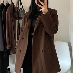 CALVIN KLEIN 100% Wool Brown Pea Coat